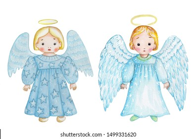 Watercolor cute cartoon Christmas angels in blue dresses. Hand drawn, isolated on white.