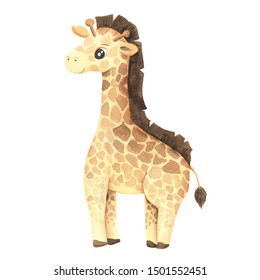 Watercolor cute cartoon giraffe animal character isolated on white. Hand painted exotic tropical little baby cat perfect for nursery print poster design and baby shower card making