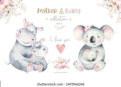 Watercolor cute cartoon illustration with cute mommy hippo and baby, koala flower leaves. Mother and baby illustration design. Tropical mom