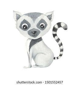 Watercolor cute cartoon lemur animal character isolated on white. Hand painted exotic tropical little baby cat perfect for nursery print poster design and baby shower card making