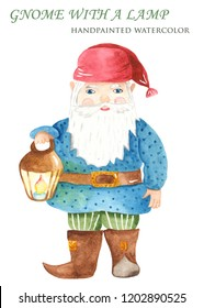 Watercolor cute cartoon leprechaun. Illustration of a gnome with a lantern for kindergarten, Waldorf, baby shower, cards, invitations.
