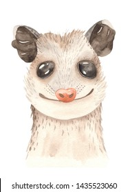 Watercolor cute cartoon mexican animals. Portrait with tropical trendy. Perfect for invitations, cards, greeting cards, birthday, baby shower, logo, travel, prints, posters.