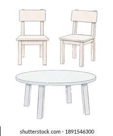 Watercolor cute cartoon set with two chairs and round table isolated on white background. Watercolor hand drawn illustration sketch