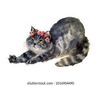Watercolor cute cat with flowers
