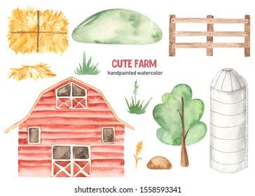 Watercolor cute farm with barn, granary, hay, shovel, wooden fence, hill, tree, grass