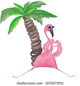 Watercolor cute flamingo showing love sign