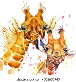 Watercolor cute giraffe illustration. Love card. Valentine poster. T-shirt design template