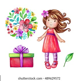 watercolor cute girl illustration, baby doll, little princess, floral bouquet, wrapped gift box, birthday party design elements set isolated on white background, festive clip art