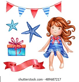 watercolor cute girl illustration, doll, sailor, star fish, holiday bunting, ribbon tag, gift box, nautical design elements set isolated on white background, festive clip art