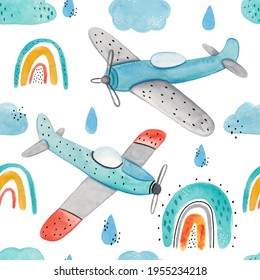 Watercolor cute hand-drawn seamless children simple pattern with aircraft, rainbows, clouds and drops on a white background. Kids seamless pattern with planes. Funny airplanes. Trendy background.