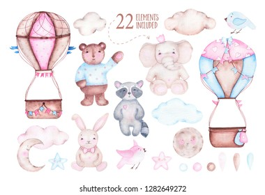 Watercolor cute hot air balloon with elephant bear raccoon bunny moon birds clouds isolated on white background. Birthday children animal decoration kid illustration
