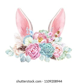 Watercolor cute illustration of a hare ears with a bouquet of flowers, floral print, invitation wedding card.  Peonies and succulents.Blue hydrangea.  Leaves of eucalyptus. Bird feathers
