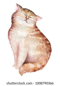 Watercolor cute isolated cat ilustration. Love cartoon cats character for valentine's card. Nursary art drawing.