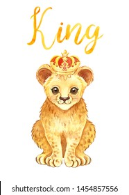 Watercolor cute lion cub in a crown, isolated on white background. Baby animal and hand lettering for cards, nursery prints, textile. Hand painted wild african mammal illustration. Cartoon style.