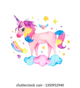 Watercolor cute magic pink unicorn with rainbow, clouds and star isolated on white background. Baby shower happy birthday card invitation for children kid illustration