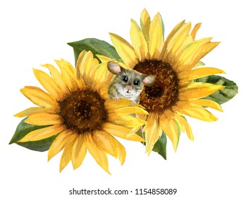 Watercolor cute mouse in yellow sunflowers. Hand drawn watercolor