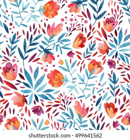 Watercolor cute ornate flowers seamless pattern. Flourish background in decorative style. Detailed colorful flowers, petals and natural elements. Hand painted floral illustration