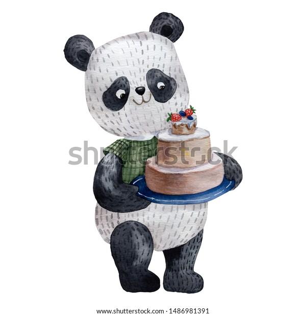 Awe Inspiring Watercolor Cute Panda Bear Hand Drawn Stockillustratie 1486981391 Funny Birthday Cards Online Inifofree Goldxyz