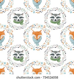 Watercolor cute pattern portrait of a fox and raccoon  in a scarf, winter print, children's illustration. simple children's pattern
