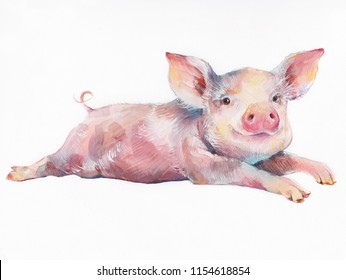Watercolor cute piggy isolated on white background. Hand drawn little pig illustration. Symbol of New Year 2019.