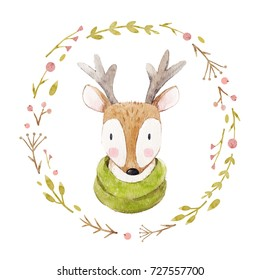 Watercolor cute portrait of a deer  in a scarf, winter print, children's illustration. cute floral round wreath, naive art