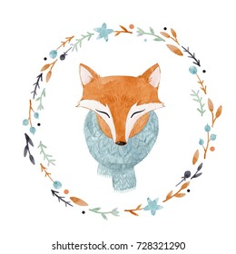Watercolor cute portrait of a fox in a scarf, winter print, children's illustration. cute children's wreath frame