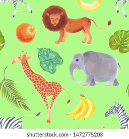 Watercolor  cute realistic seamless pattern of African animals lion, giraffe, elephant, zebra,  with plants and fruits.