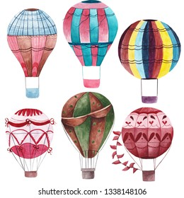 Watercolor cute set with hot air balloon on white background