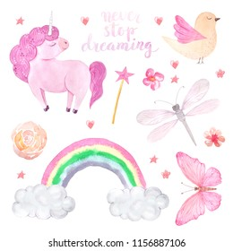 Watercolor cute set of unicorn, bird, butterfly and rainbow illustration isolated inspired by baby fairytales. Magic trendy pink cartoon collection perfect for nursery print and poster design