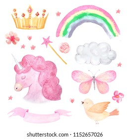 Watercolor cute set of unicorn, ribbon, butterfly and rainbow illustration isolated inspired by baby fairytales. Magic trendy pink cartoon collection perfect for nursery print and poster design