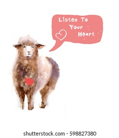 """Watercolor cute sheep with slogan """"Listen to your heart"""""""