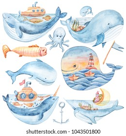 Watercolor cute whale. Fairytale Illustration on white background