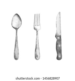 watercolor cutlery, silverware, spoon, fork, knife, on a white background