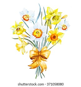 watercolor daffodil flowers, spring bouquet with gold bow, greeting card