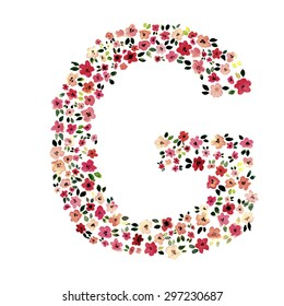 Watercolor daisy red flowers letter G
