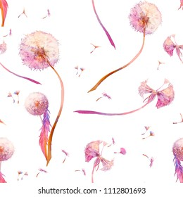 Watercolor dandelion seamless pattern. Repeating texture with blowballs on white background. Hand painted wallpaper design.