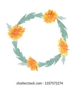 Watercolor Dandelion Wreath