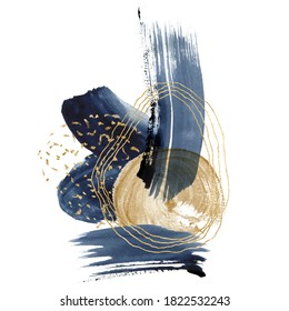 Watercolor dark blue and gold abstract linear card. Hand painted underwater card with circle ocean texture. Marine illustration for design, print, fabric or background.