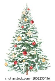 Watercolor decorated Christmas tree illustration. Holiday greeting card