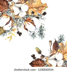 Watercolor decoration with cotton flowers and leaves. Beautiful hand drawn watercolor illustration.