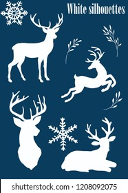 Watercolor deep blue gold white silhouettes of cute deer on a white dark background hand-drawn