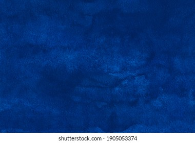 Watercolor deep royal blue background texture. Navy blue stains on paper. Artistic elegant backdrop, hand painted