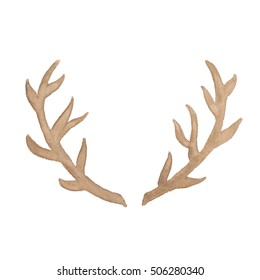 Watercolor deer antler isolated on white background. Perfect for wedding, holidays, invitation, birthday