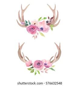 Watercolor deer horns with flowers.Boho design.Tribal decorative painted print