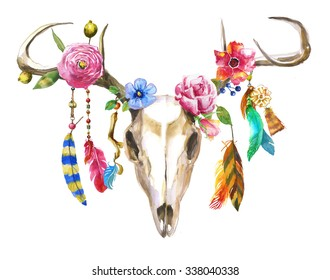 watercolor deer skull with flowers and feathers