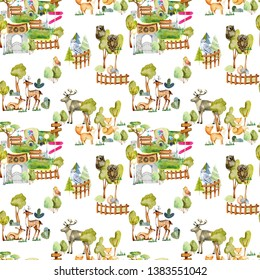 Watercolor deers, foxes and birds at the zoo seamless pattern, hand drawn on a white background