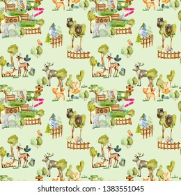 Watercolor deers, foxes and birds at the zoo seamless pattern, hand drawn on a green background