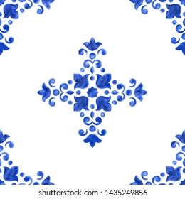 Watercolor delft blue style porcelain seamless pattern, dutch ceramic tiling ornament. Delicate cobalt blue floral pattern. Damask on white background. Holland tile motives blue background.
