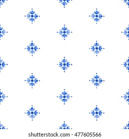 Watercolor delft blue style seamless pattern, renaissance tiling ornament. Delicate cobalt blue floral pattern. Stylized heraldic lily on white background. Holland tile motives blue background.