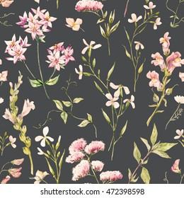 Watercolor Delicate  pink floral, botanical collection of retro wallpaper,
